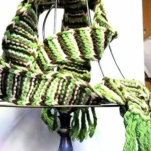 Extra Long Old Navy Cable Knit Yarn Fringe Scarf